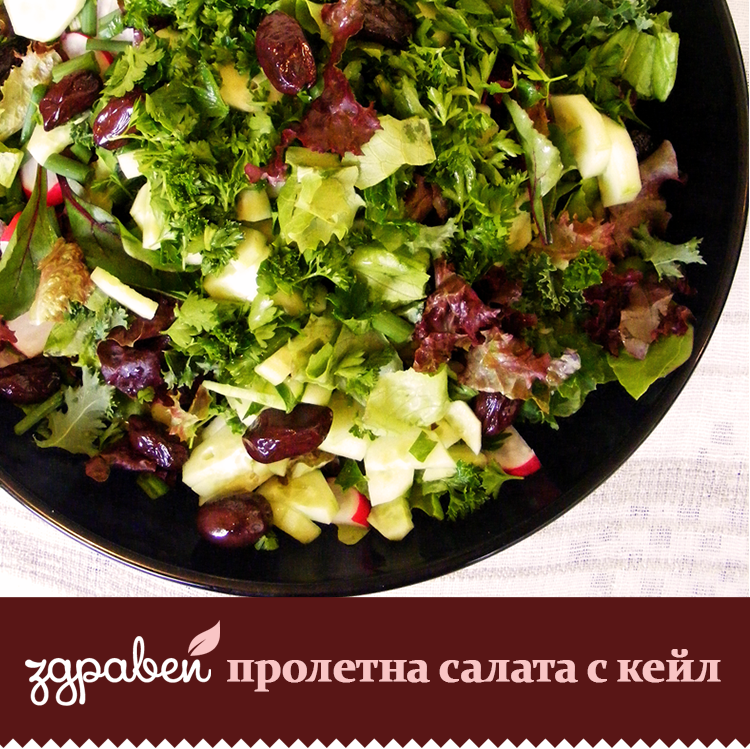 Пролетна зелена салата с кейл и стафидакис